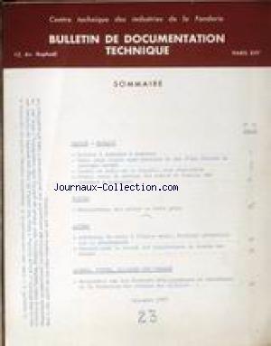 BULLETIN DE DOCUMENTATION TECHNIQUE [No 23] du 01/...