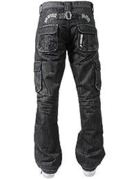 df522504028a New ENZO Mens Designer Cargo Combat Blue Coated Denim Jeans Pants All Waist  Size