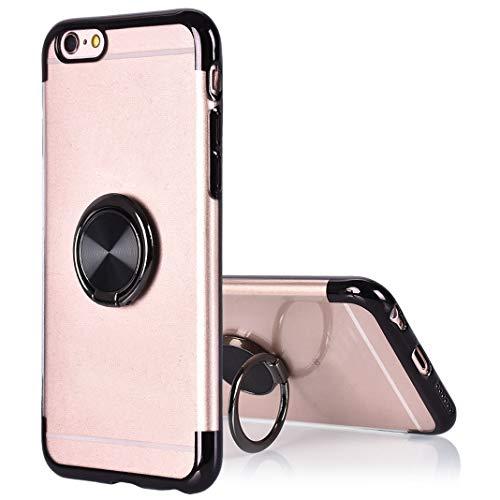 Kompatibel mit iPhone 6S Hülle mit Ring Schwarz, Slim Silikon Flip Hülle Handytasche mit Metall Handyhalterung Auto Magnet Smartphone Halter Ständer Ringhalter Bumper Kompatibel mit iPhone 6/iPhone 6S