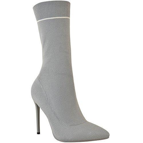 Damen High High Heels in Socken-Optik - elastisch - wadenlang - Stiletto-Absatz - Graues Strickmuster - EUR 36