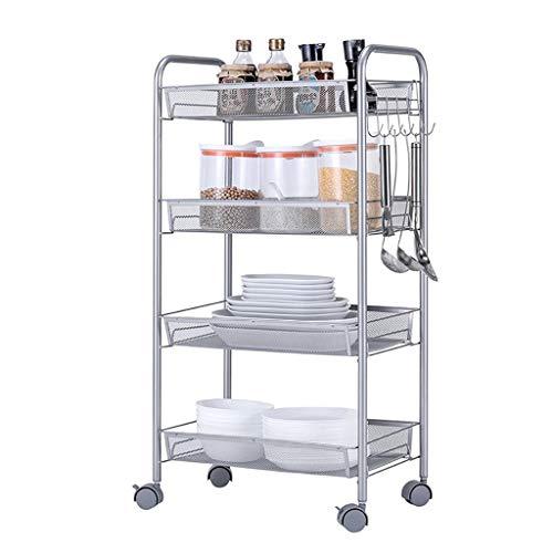 Shelf Allzweck-4-Tier-Servierwagen Metallgitter-Aufbewahrungsbox Rollwagen mit Körben , Geeignet für Badezimmer-Büro in der Küche, Abstandshalter für Gemüse