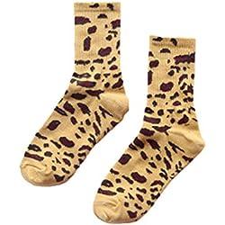 Fasumava Mujer Vintage Crew Calcetines Invierno Casual Algodón Leopardo Estampado Dailywear Amarillo One Size
