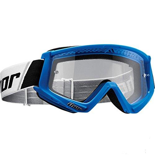Thor Combat Motocross Goggle Brille SX MX DH Downhill Offroad Enduro schwarz weiss orange (Blau)