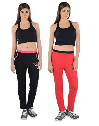 2Day Women's Cotton Track Pants (Pack of 2) (2DE TP2 04.1_Free Size_Multi-Coloured)