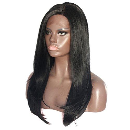 Homyl Damen lange Perücke Natürlich gerade menschliche Haare Perücke Hitzebeständig Echthaar Lace Front Wig Cosplay Wig (Schwarz) (Menschliche Haare Perücken)