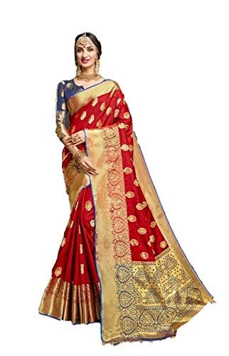 Raj Fashion Damen Banarasi Silk Saree Indische Hochzeit Ethnische Sari & Unstitch Bluse Piece Sari R054 -