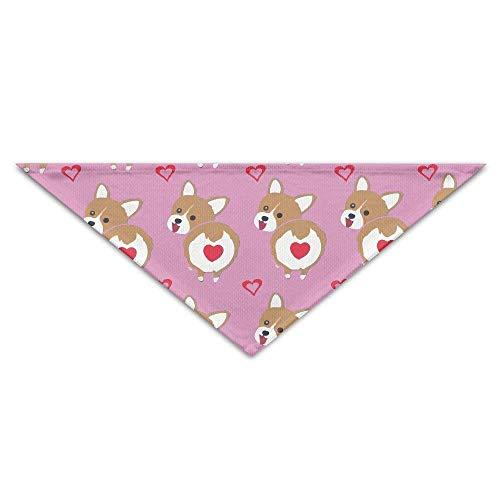 Sdltkhy Corgi Butt Heart Corgi Triangle Pet Scarf Dog Scarves Dog Bandana 18.5
