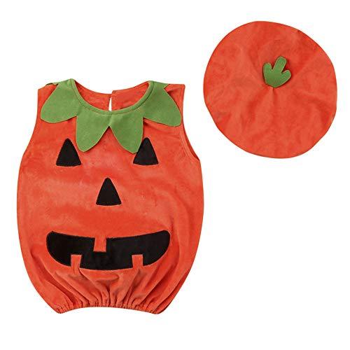 Ansenesna Halloween Kostüm Baby Mädchen Junge Kürbis Cartoon Weste und Cap (80, Orange)
