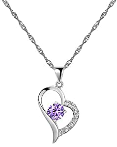 Rhodium plaqué argent 925 Amethyst Collier pendentif coeur en forme incluant Chain 45cm