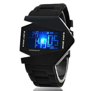 fenkoo Homme Sport Montre Bracelet Digital LED/LCD/horloge/calendrier/Chronographe/Alarme bande silicone noir/blanc/bleu/rouge/marron/vert/, Schwarz