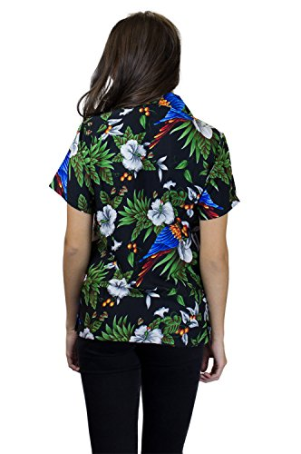 V.H.O. | Funky Hawaiibluse Hawaiihemd | Damen | Kurzarm | Front-Tasche | Hawaii-Print | Kirschblüte Papagei Palme Schwarz
