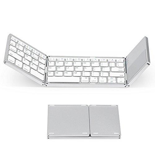 Tekemai Mini Tastiera Wireless Pieghevole, Tastiera Bluetooth Ultra-Slim con touchpad, Portatile e Ricaricabile, Compatibile con PC, Tablet e Smartphone iOS, Android e Windows.
