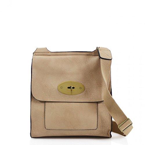 LeahWard Damen Cross Body Flap Handtaschen Hochwertige Kunstleder Schulter über Körper Tasche für Frauen 1001 (Dunkelblau H24cm x W22cm x D8cm) Aprikose H24cm x W22cm x D8cm
