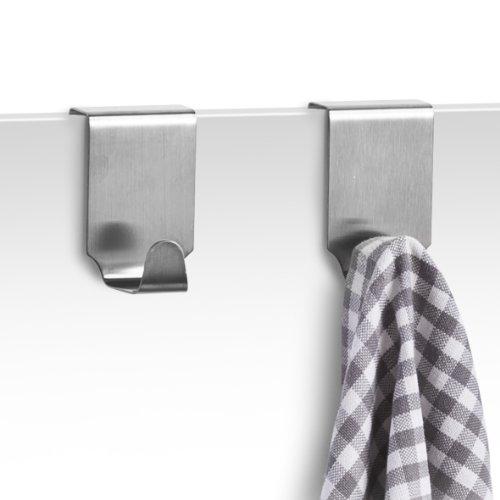 Zeller 24856 - set 2 ganci asciugamano per anta armadio, in acciaio inox, lunghezza 4 x larghezza 5 x altezza 6 cm