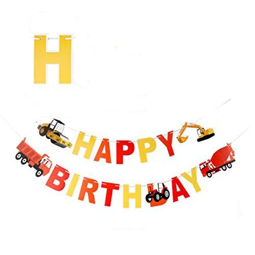 Weryffe Kreative BAU Auto Wimpel Happy Birthday Banner Flagge Girlande Geburtstagsfeier Kinder Party Dekoration Lieferungen (Bunt)