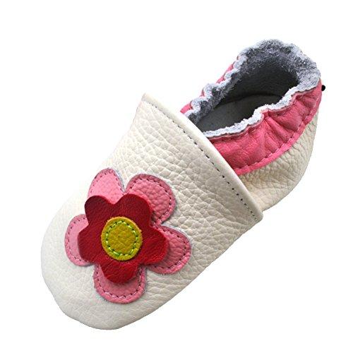 iEvolve Baby Mädchen Jungen Sterne Babyschuhe Baby Weiche Sohle Lederschuhe Baby Lauflernschuhe Krabbelschuhe(Weiß Blumen,12-18 Monate)