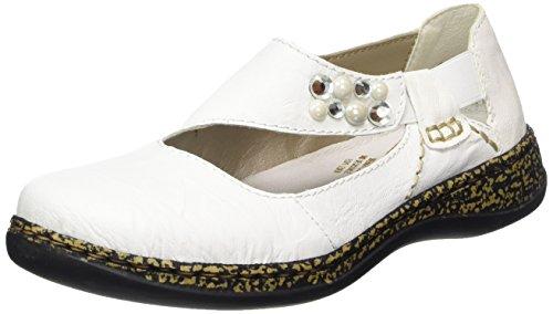 Rieker Damen 46370 Geschlossene Ballerinas, Weiß (Weiss/Bianco), 36 EU
