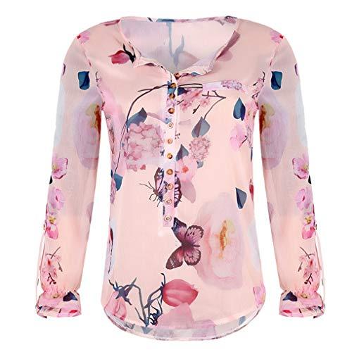 KEERADS Femmes T-Shirt en Mousseline De Soie Top Floral Imprimé Mode Casual Bouton en Mousseline De Soie Irrégulier Hem Top Blouse(L2,Orange)