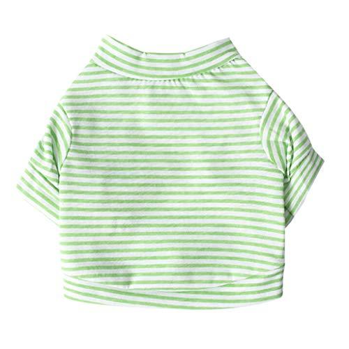 Xmiral molla dell'abito a strisce della maglia dei vestiti del cane della maglietta della canottiera del cucciolo del cane di animale domestico verde m