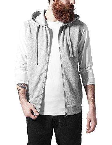 Urban Classics Herren Kapuzenpullover Sleeveless Terry Zip Hoody, Grau (Grey 111), Large (Long Sleeve Terry Hoodie)