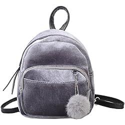 Mochila, Manadlian Mujeres sólidas Mini mochila de piel Bolso de moda Bolsas de viaje para niñas (19*8*21cm, Gris)