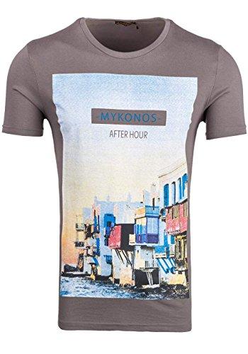 BOLF Herren T-Shirt Kurzarm Aufdruck Rundhals V-Neck Slim Fit GLO STORY 7483 3C3 Sommer Dunkelgrau