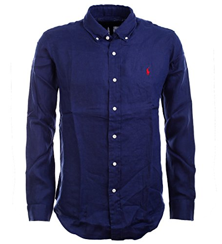Polo Ralph Lauren Herrenhemd Button Down Leinenhemd Leinen Hemd dunkelblau Größe XL (Leinen-button-down-shirt)