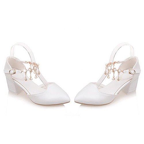 AgooLar Femme Pu Cuir à Talon Correct Pointu Mosaïque Boucle Chaussures Légeres Blanc