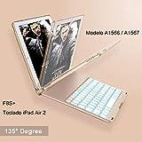 iEGrow Funda de Teclado iPad Air 2 para iPad Air 2 Modelo A1566 / A1567, Funda de Teclado Bluetooth Clamshell Delgada con 7 Colores LED Retroiluminada(Oro)