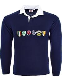 b89ebde12f8d Polo de rugby à manches longues pour homme - Tournoi des 6 nations -  plusieurs tailles