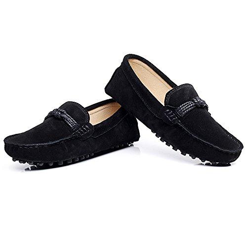 Shenn Femmes Bureau&Carrière Décontractée Glisser Sur Confort Cuir Flâneur Chaussures 24309 Noir