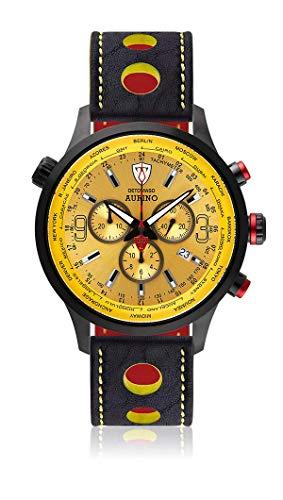 DETOMASO AURINO Herren-Armbanduhr Chronograph Analog Quarz gelbes Zifferblatt Leder Silikon Mesh - jetzt mit 5 Jahre Herstellergarantie (Leder - Schwarz (Racing Style))
