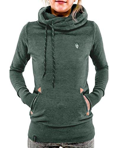 StyleDome Damen Hoodies Pullover Langarm Jacke Top Sweatshirt Laple Knopf Jumper Grün 48 (Grüner Hoodie Jacke)