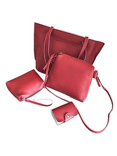 WTUS Damen Neue Art und Weise Beiläufige Schulterbeutel Wannenbeutel Einfach Wilder Mode-Handtaschen 4 Stück Set Rot