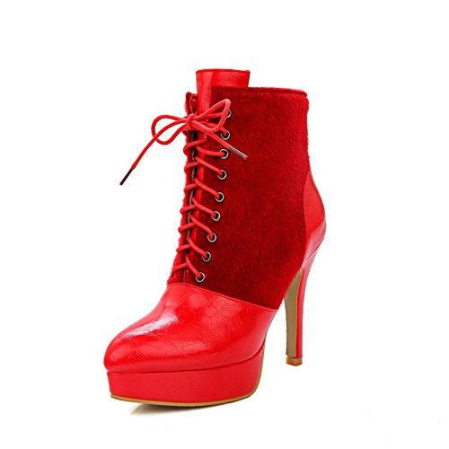 VogueZone009 Donna Tacco Alto Bassa Altezza Puro Allacciare Stivali con Nodo Rosso