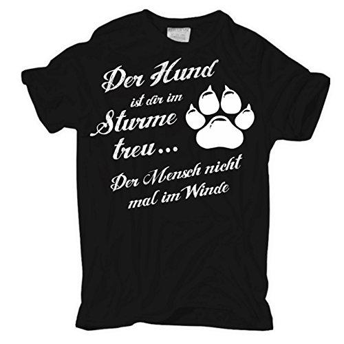 Männer und Herren T-Shirt Der Hund ist dir im Sturme treu Schwarz