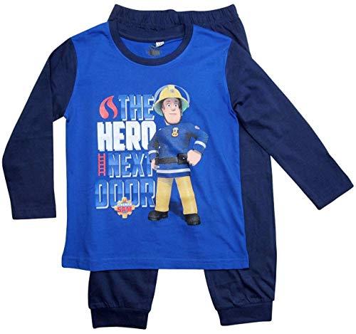 Feuerwehrmann Sam Schlafanzug Jungen Lang Pyjama (Blau, 104-110)