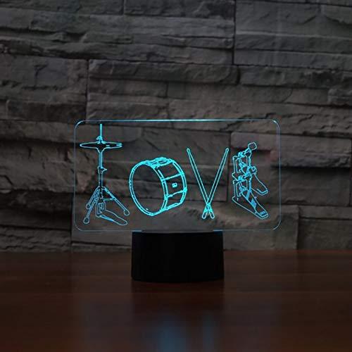 3D Künstlerische Liebe Trommeln Tischlampe 7 Farben Led Nachtlichter Für Kinder Touch Usb Lampe Leuchte Wohnkultur Geschenke