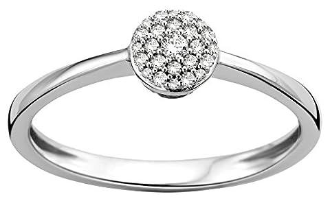 Diamada Femme or blanc en diamant fiançailles bague 9kt (375) brillant 0.09cts