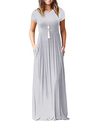 Kidsform Damen Maxi Kleid Casual Sommer Kurzarm Kleid mit Tasche Lose Strandkleider Grau l
