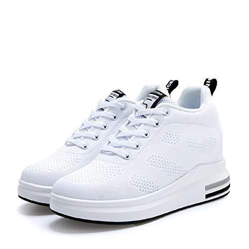 LILY999 Scarpe con Zeppa Interna Donna Scarpe da Ginnastica Basse Sportive  Fitness Sneakers Zeppa Interna 8CM(Bianco 5bbb2c00a1d