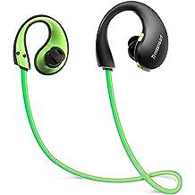 Auriculares Bluetooth Deportivos, Tronsmart Gleam Cascos inalámbricos, IP66 con Luces Led y Micrófono, 6 Horas de Emisión Continua Manos Libre- Negro+Verde