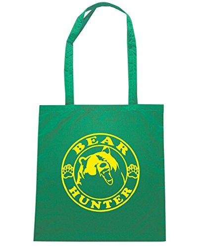 T-Shirtshock - Borsa Shopping FUN0722 bear hunter vinyl hunting car decal 88183 Verde