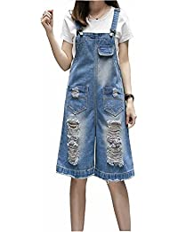 2f4aa69fd5f Elwow Womens Ladies Plus Size Knee Length Wide Leg Pinafore Dungaree  Overall Denim Jeans Jumpsuit Trousers