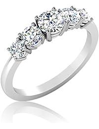 IskiUski White Gold And American Diamond Ring For Women - B075VH9Q98