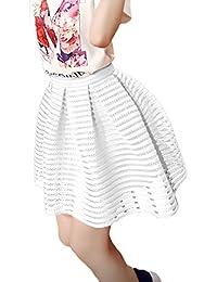 Faldas Mujer Verano Elegante Casual Color Sólido Alto Ropa Dama Moda  Fashionista Cintura Malla Rayas Forradas e818119be5bd