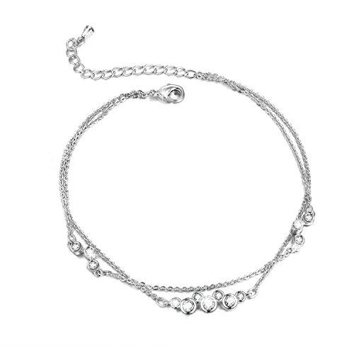WINNICACA Damen Doppelschicht Fußkettchen Mickey Zirkon Knöchel Armband Strand Fuß Kette Geschenk für Frauen Mädchen