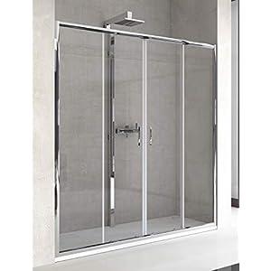 Mampara de Ducha Frontal – 2 Hojas Fijas y 2 Hojas Correderas – Cristal de Seguridad de 6 mm – Modelo TELIA 4
