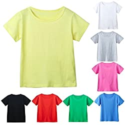 Clearance Sale!OverDose Toddler Kids Unisex Baby Girls Boys Candy Color Short Sleeve Plain T-Shirts Children Summer Tees