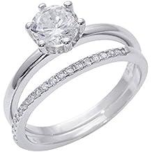 Silverly Anello Donna .925 Argento Sterling Placcato Rodio Zirconi Set 2 Anelli Stile Fidanzamento - Lunetta Diamante Solitario Anello